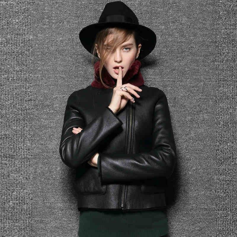 2015 New European Grand Prix Real fur leather jacket Woman Short paragraph Wool fur coat JSH222Îäåæäà è àêñåññóàðû<br><br>