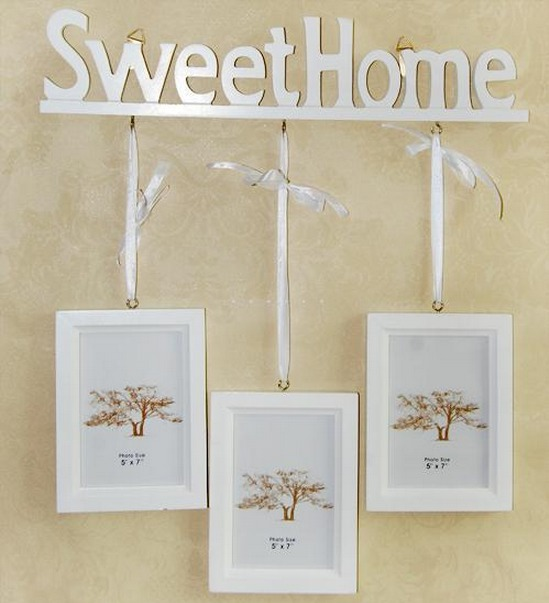 New White Sweet Home Photo Frame Picture Frame Home Decoration Triple 5'' x 7''(China (Mainland))