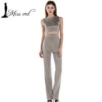 Free shIpping  2016 Sexy round neck sleeveless zipper two-pcs  jumpsuit Wide leg velvet pants FT2603