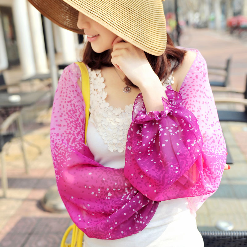 New 2015 summer style scarf UV Sunscreen The cuff shawl Rose & white Gradient color Chiffon Women's scarves PP624AL-P wholesale(China (Mainland))