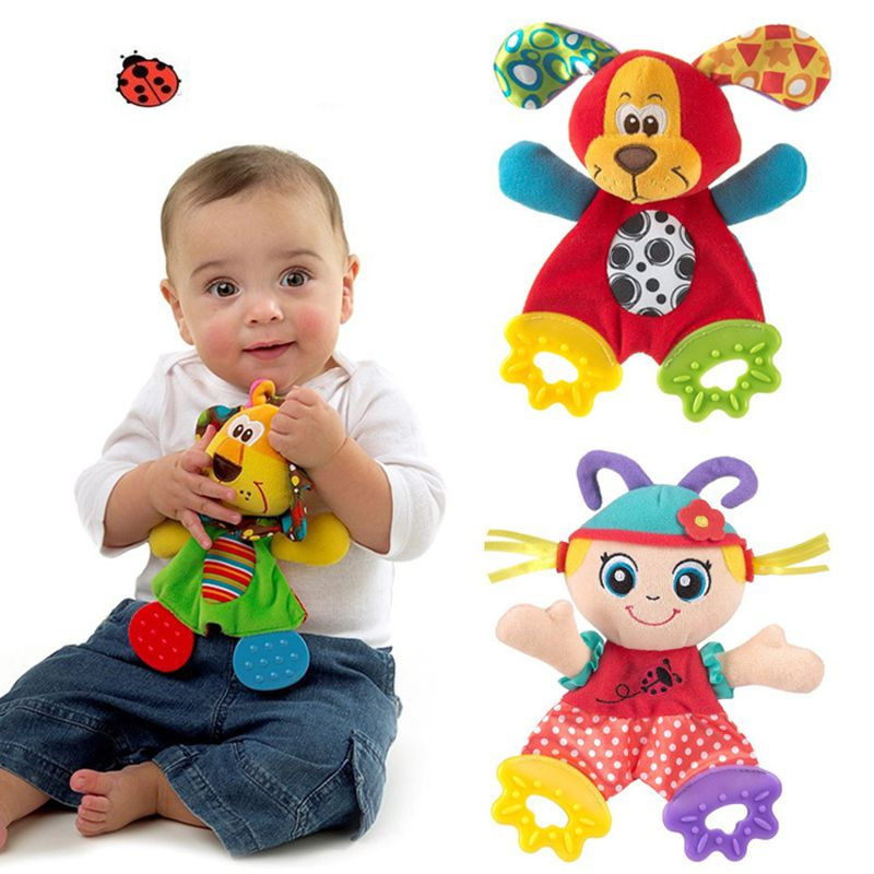 New Arrival Soft Animal Teether Model Handbells Rattles Cute Gift Baby Toy Plush Towel Appease Doll PT92103(China (Mainland))