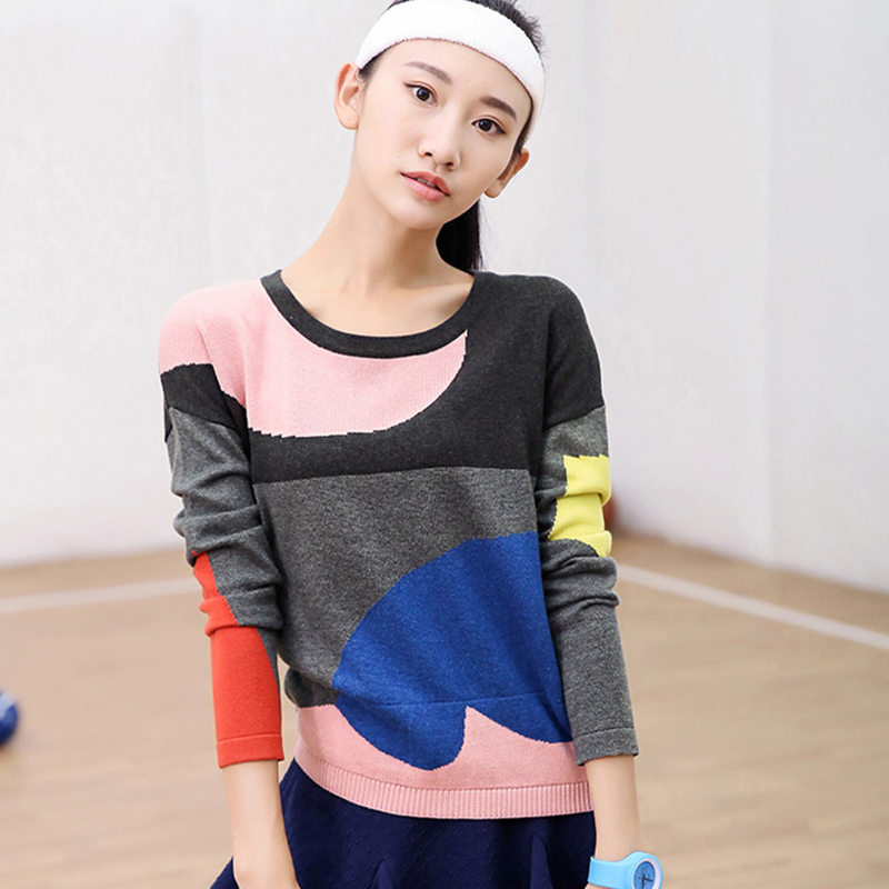 LIEBO 2015 Winter New Arrival Cotton Blend Sweater Women Jacquard Weave Designed Color Block O-neck Down Shoulder Loose 51150732Одежда и ак�е��уары<br><br><br>Aliexpress