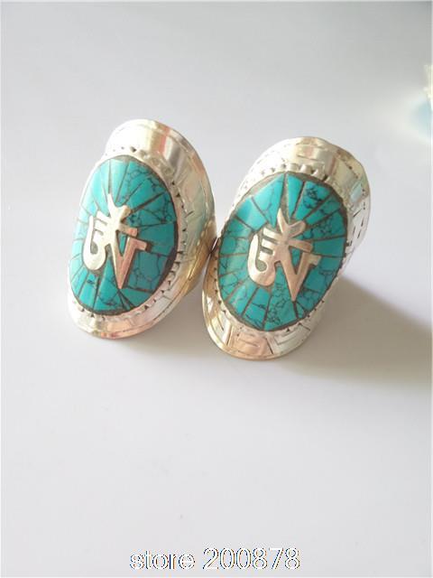 R159 Tibetan White Metal Copper Silver Turquoise OM rings, Wholesale Nepal India Tibet jewel(China (Mainland))