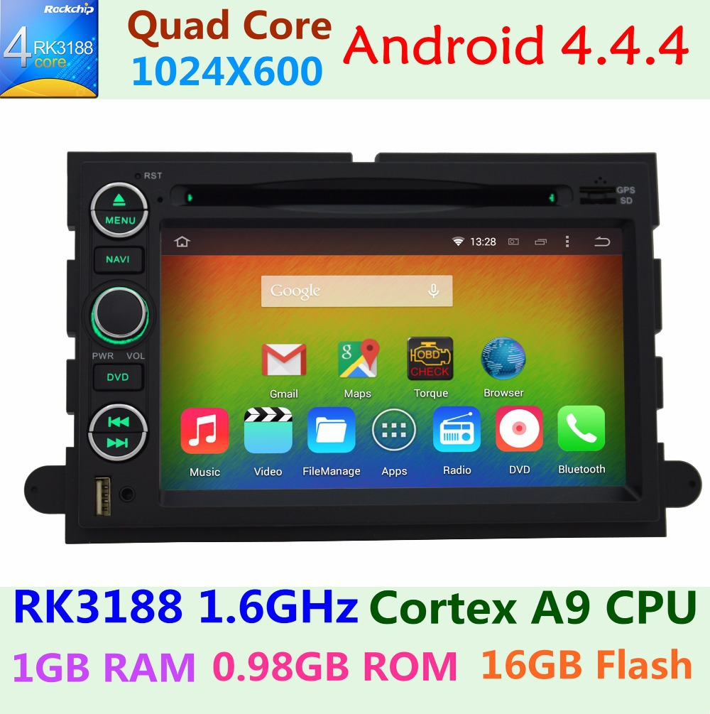 HD 1024*600 Android 4.4.4 Quad Core Car DVD Player For Ford Focus Edge Expedition Mustang Escape Freestyle Taurus GPS Navi Radio(China (Mainland))