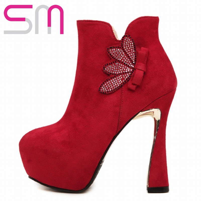 2015 Sexy Women Hoof Super High Heels Rhinestone Bowtie Ankle Boots Thick Platform Shoes Woman Party Wedding Shoes Winter Boots