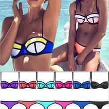 Triangl бикини купальный костюм марка неон цвет неопрен женщины купальник майо де бейн пуш-ап бюстгальтер сексуальный купальники бикини комплект
