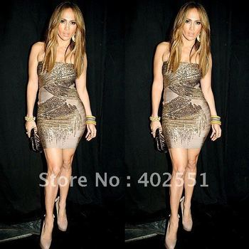 New Fashion Cocktial Dresses Studded Beaded Evening Dress Sequins Celebrity Formal Dress Wholesale Retail HL2403