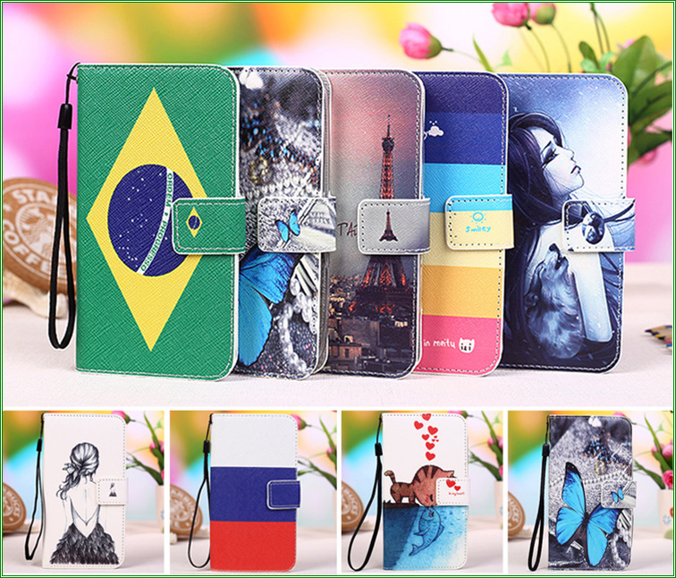 Bestselling Colorful PU Leather Case for Explay Vision Eiffel Tower Butterfly Kitty Girl Brazil Russian Flag Pattern Phone Cover(China (Mainland))