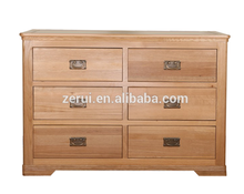 Solid oak furniture wooden antique color wide 6 drawer chest(China (Mainland))