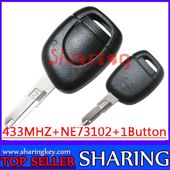 Free shipping (5PCS/lOT)  1 button Remote Key with PC7946 Chip With NE73 Blade For Reanult Clio Kangoo Master