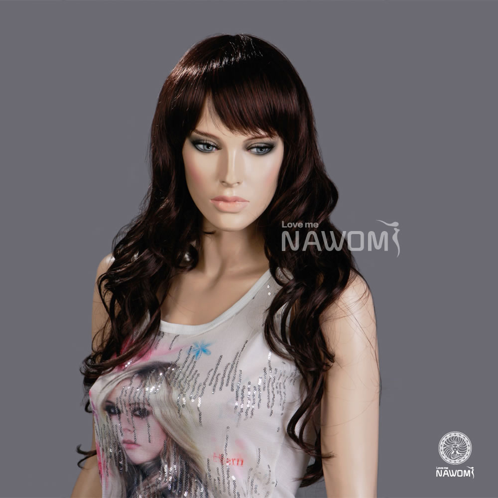 NAWOM Brand Women Fashion Hair Wig Long Curly Wigs Bangs Dark Brown Color Kinky Lace Front Drop Ship