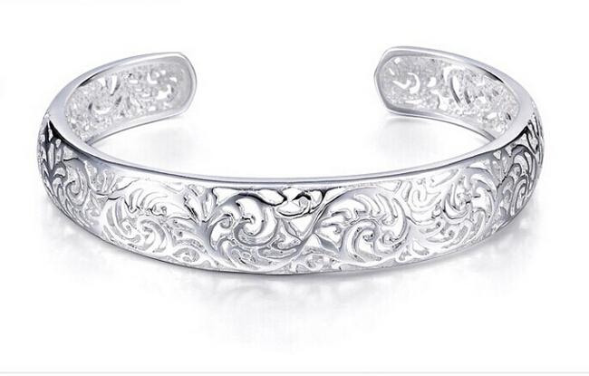 Гаджет  Big Sale 925 Silver Bangles Antique Hollow Flower Silver Bracelets Bangles For Women BG054 None Ювелирные изделия и часы