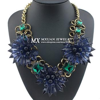Fashion Star Retro Three Ink blue Acrylic Acid Flower Chunky Necklace Women Ancient Bronze Link Luxury Jewelry Gift NK176
