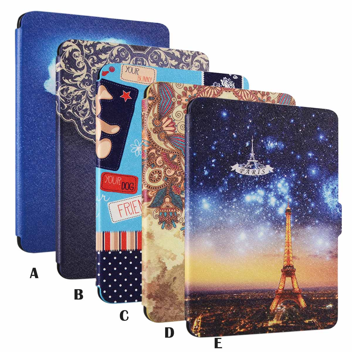 Protective Painting Pattern PU Leather Skin Cover Case for Kindle Paperwhite 1 2 3(China (Mainland))
