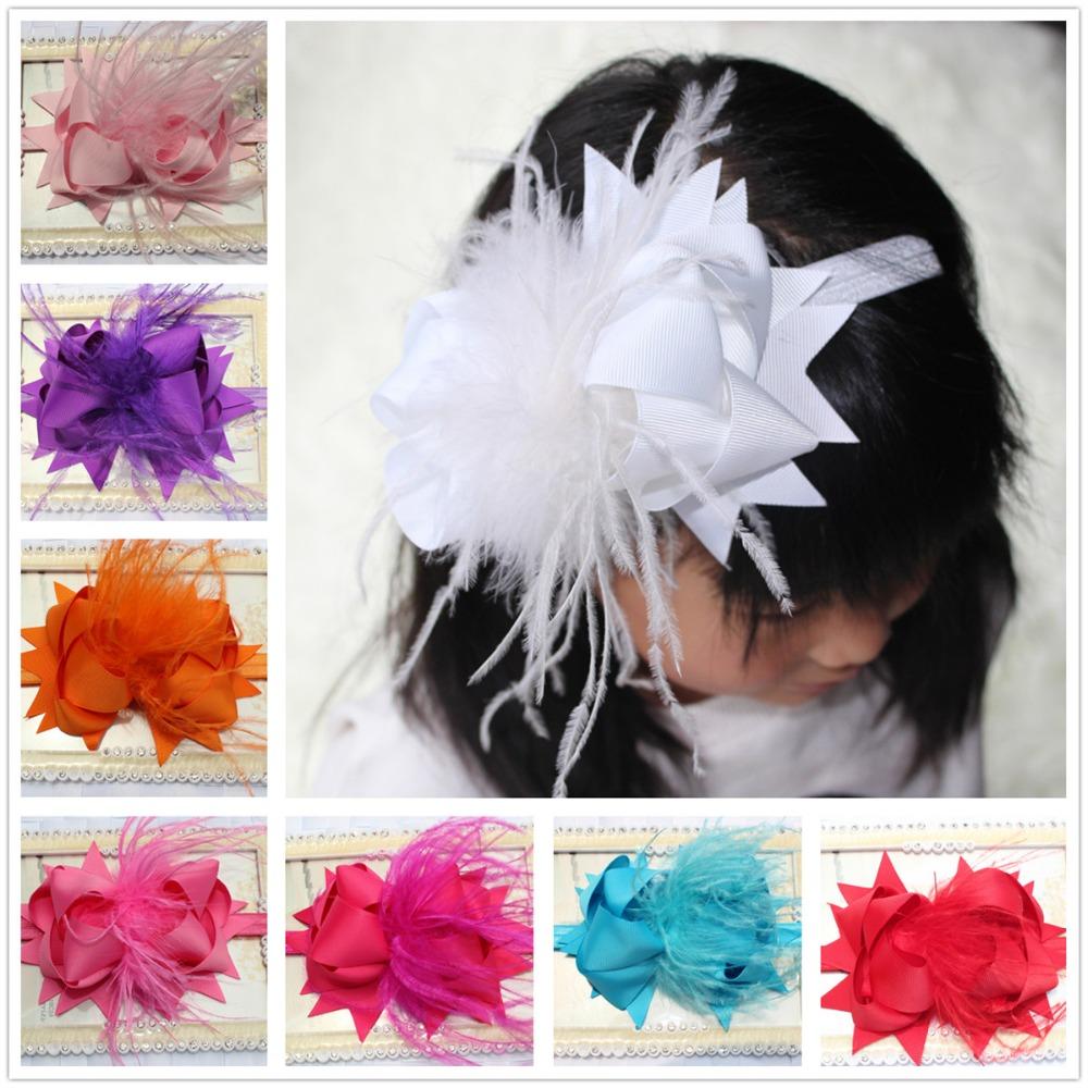 1pc 6inch ostrich baby girl kids hair ribbon bow headbands elastic headband decorations accessories ornaments headdress headwear(China (Mainland))