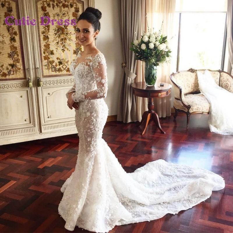 Elegant Long Sleeve Wedding Dresses Jewel Neckline Appliqued Floral Mermaid B
