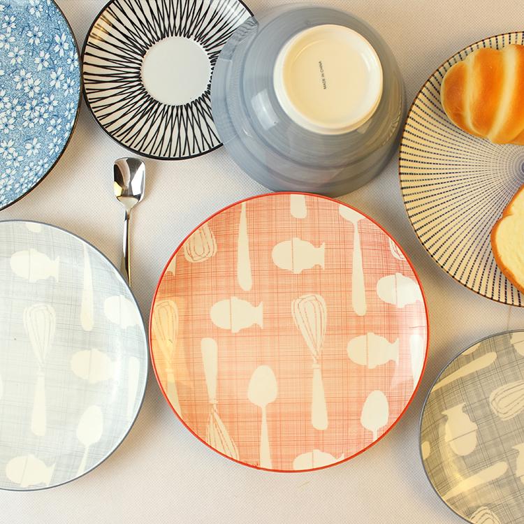 Ceramic plate breakfast tray western dish flat plate pelvis cartoon plate(China (Mainland))