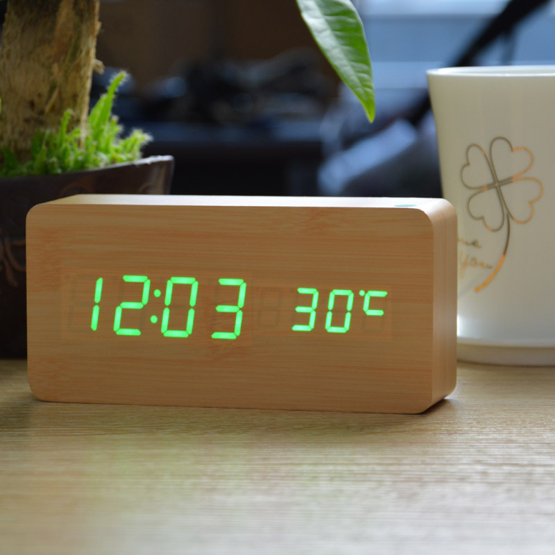 New 2014 LED Wood Wooden Alarm clocks, USB/Battery Temperature Sound controlled Table/Desk Clock(China (Mainland))