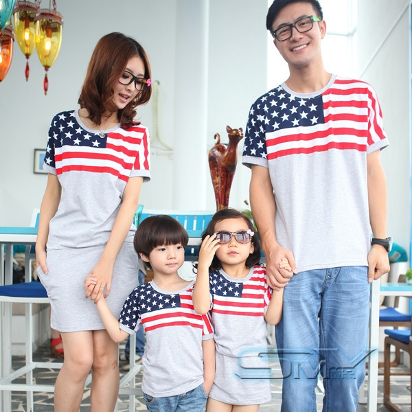 Boys Clothes Children Clothing American Flag One-piece Dress Clothes For Mother And Daughter Summer Family Short-sleeve T-shirt(China (Mainland))