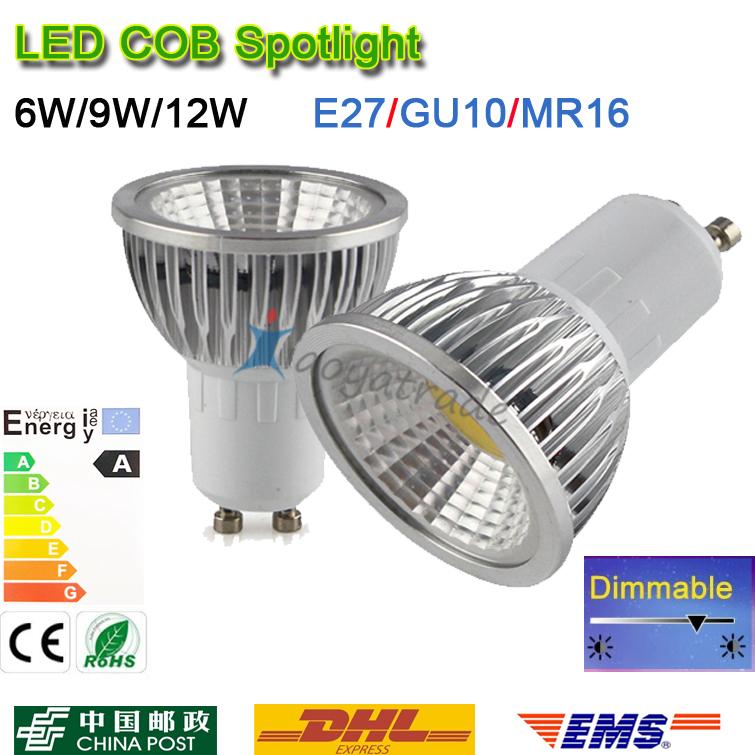 Super Bright GU 10 Bulbs Light Dimmable Led Warm/White 85-265V 6W 9W 12W GU10 E27 MR16 COB LED lamp light GU 10 led Spotlight(China (Mainland))