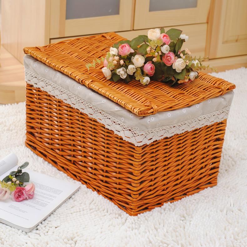 Rattan Large clothing order box liubian plus size storage basket with lid liubian toys sundries storage basket(China (Mainland))