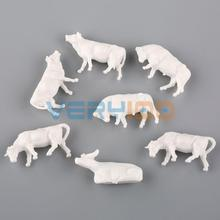 50pcs HO Scale Model UnPainted White Farm Animals Cows 9 Poses 1:87(China (Mainland))
