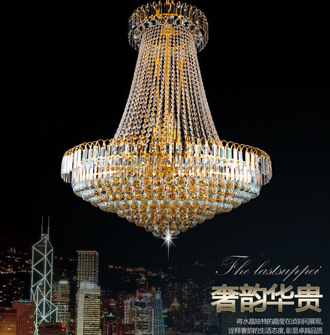 Free Shipping Royal Empire Golden Crystal chandelier Light French Crystal Ceiling Pendant Lights(China (Mainland))