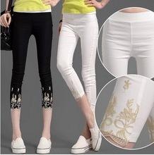 2016 Summer New Sexy Lace Calf Length Pants Women Cotton Stretch Casual Black White Slim Pencil Leggings Plus Size 2XL 3186