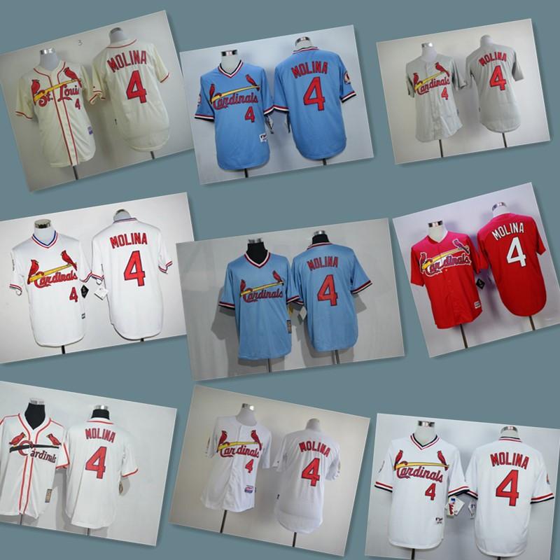 2016 Mens 4 Yadier Molina Jersey 100% Stitched Throwback Baseball Jerseys color red white blue yellow(China (Mainland))