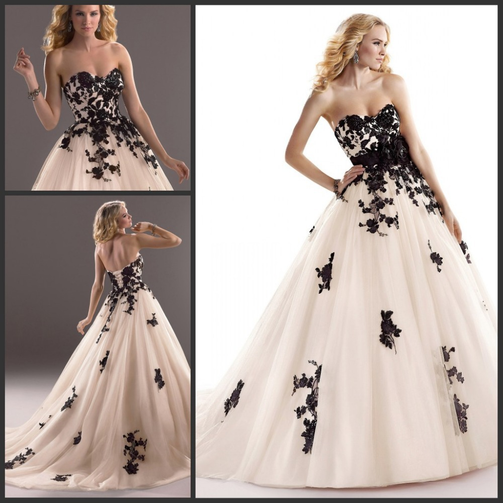 Elegant sweetheart pink and black lace and tulle ball gown for Tulle and lace wedding dresses