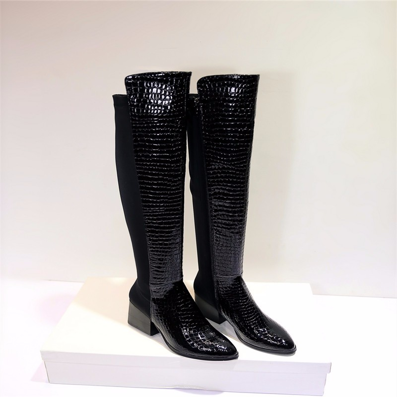 Snakeskin Pattern Knee Boots 2015 Square Heel Long Boots Pointed Toe Womens Shoe Winter Cowhide Snakeskin Pattern Knee Boots