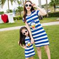 women summer dress 2016 one piece blue white striped dress mother daughter dresses family clothing father