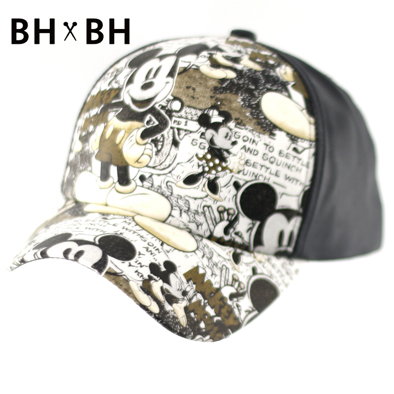 Hot sale casual baseball cap for men and women cute cartoon pattern chapeau adults outdoor sports adjustable PU hat BH-LDL037(China (Mainland))