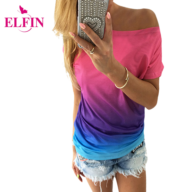 Fashion Autumn Womens Blouse Shirt Short Sleeve Gradient Color Sexy Summer Causal Top Plus Size Women Clothing LJ4219R(China (Mainland))