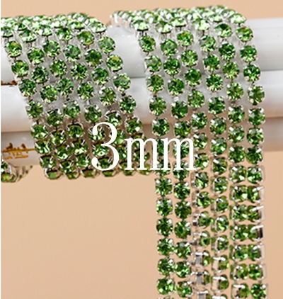 5 yard (3mm) Green color Rhinestone Crystal Cup Claw Chain Trim Strass Crystal Banding For DIY Jewelry Wedding Decoration(China (Mainland))
