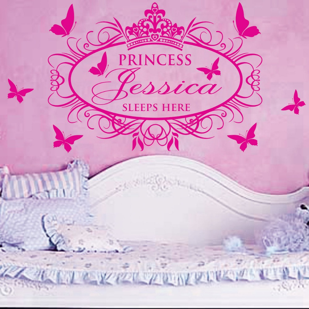 princess sleeps here x large name princess girl vinyl wall decals stickers art cutsom name in. Black Bedroom Furniture Sets. Home Design Ideas