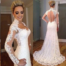 New Fashion 2015 Lace Wedding Dress V-neck Appliques Mermaid White Long See Through Back Long Bridal Gown For Women