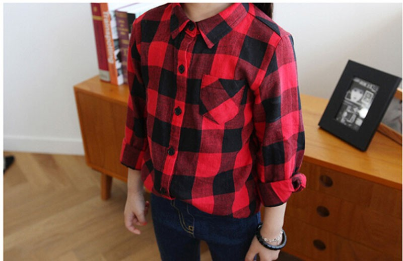 Girls Blouse Fashion School Shirt for Baby Girls Long Sleeve Plaid Shirt Classic Red Color Blouse for Teenagers Kids Clothes