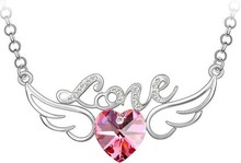 JS N117 Angel Wings Heart Necklace For Women Crystal Jewerly Silver And Gold Plated Joias Christmas Gifts Sale Silver Pendant(China (Mainland))