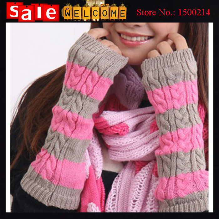 2016 Striped Winter Thick Arm Warm Women Long Knitted Elbow Gloves Half Finger Girls Weaving Woolen Fingerless Gloves & Mittens(China (Mainland))