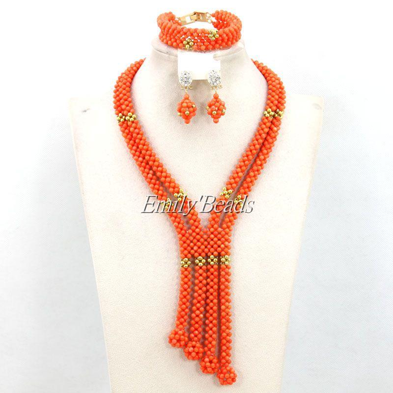 Luxury Nigerian African Wedding Beads Jewelry Set Handmade Coral Beads Jewelry Set Bridal Jewelry Set Free Shipping CJ436<br><br>Aliexpress