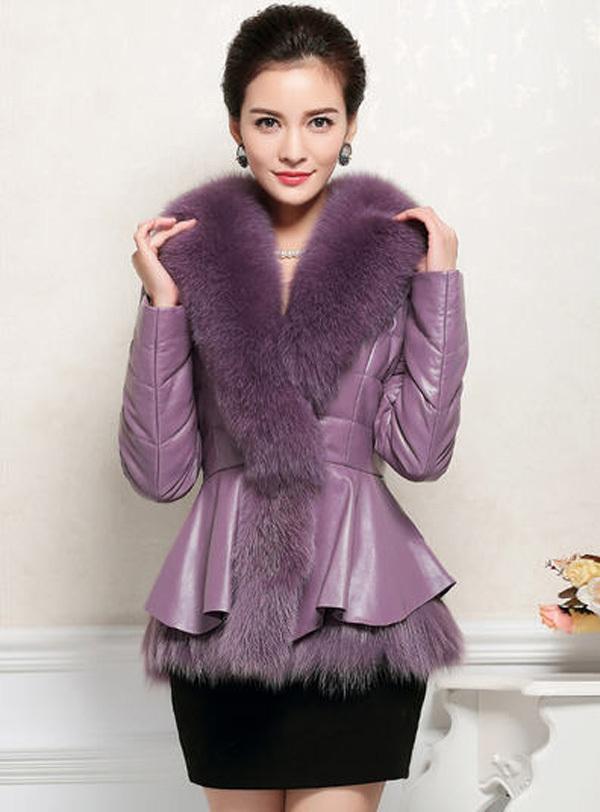 Фотография 2014 hot sale women winter high imitation leather cotton coats fur collar ruffles short overcoats full sleeve v-neck parkas E714