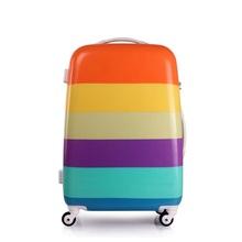 20/24 pouces Rainbow valise ABS PC rayé voyage bagages pour femmes de Rolling voyage sacs avec roues multidirectionnelles adultes voyage sacs(China (Mainland))