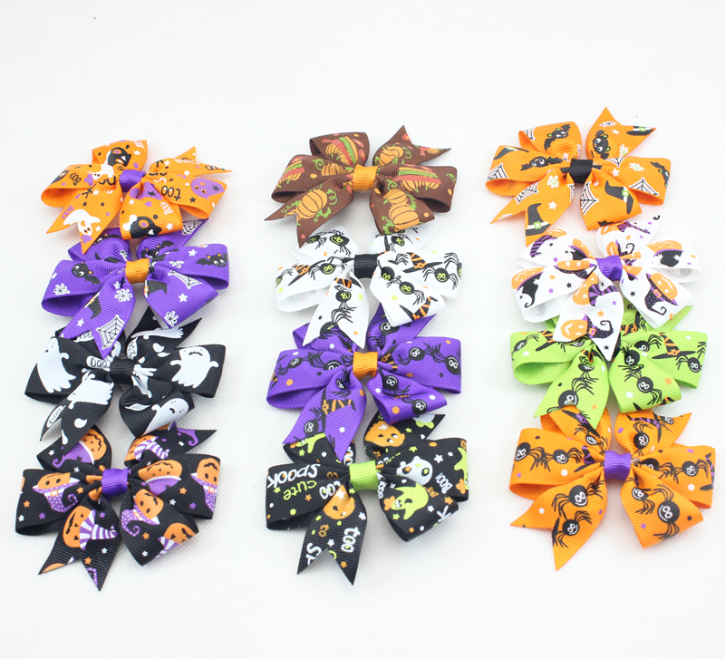 Trial Order 10 pcs/lot Hallowmas Satin Hair Bow hair Accessories Elastic Bow Hair ties Holiday Wedding Hair  accessories(China (Mainland))