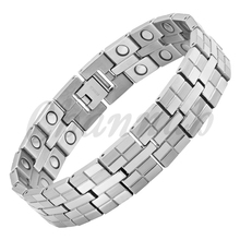2015 Men Jewelry 36pcs Magnets Silver High Power Magnetic Titanium Bracelet Healing Male Bangle Free Shipping via Hong Kong Post(China (Mainland))