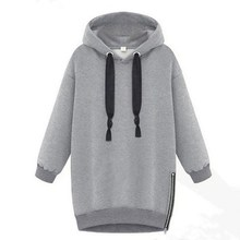 2016 Winter Autumn Women Long Sleeve Hooded Jacket Loose Warm Sports Hoodies Solid Thickening Sweatshirt Plus Size S-5XL - Top Mall Cloths store
