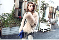 новый зимний женщина кожа мех пальто мягкий мех теплый моды одежда искусственная кожа pu
