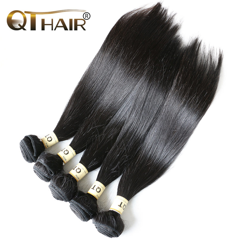 10 Pcs/Lot QT Cheap Malaysian Hair Extensions Grade 6A Malaysian Virgin Hair Straight Human Hair Wig With Bangs Free Shipping<br>