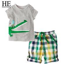 Baby sport suits Summer children clothing set baby boy set short Plaid O neck sets baby