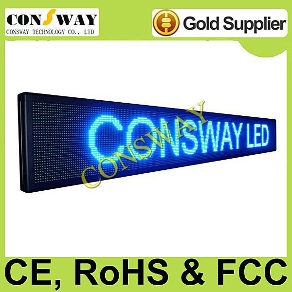 DHL freeshipping and CE approved outdoor moving letters led sign with blue color and size 296cm*40cm(China (Mainland))